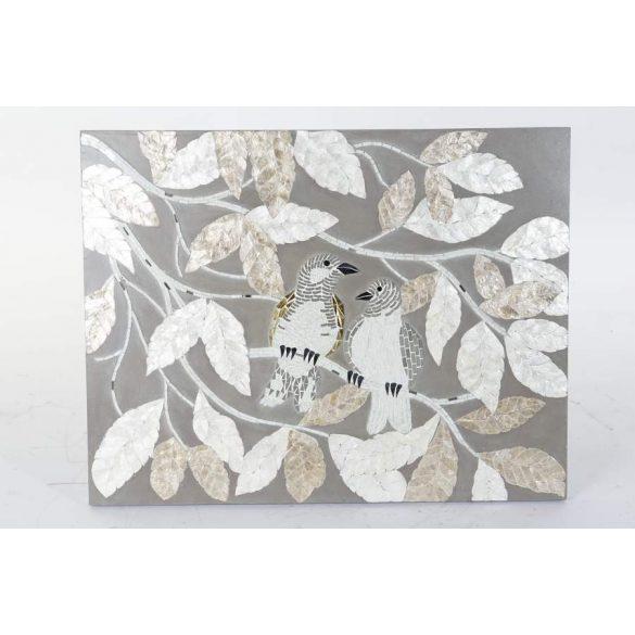 Dekoráció falra üveg mdf 90x4x70 levelek madarak
