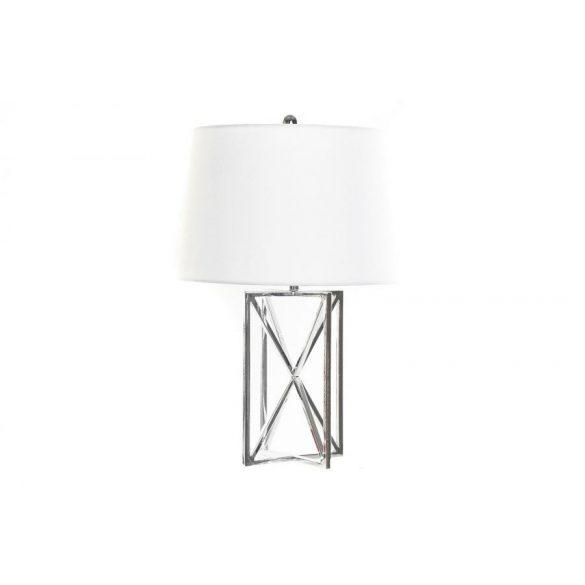 Lámpa asztali fém poliészter 38x38x58 krómozott
