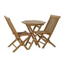 Asztal, szett, 3db-os, teakfa, 60x60x75, természetes