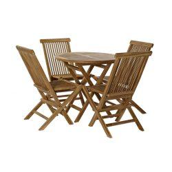 Asztal, szett, 5db-os, teakfa, 80x80x75, természetes