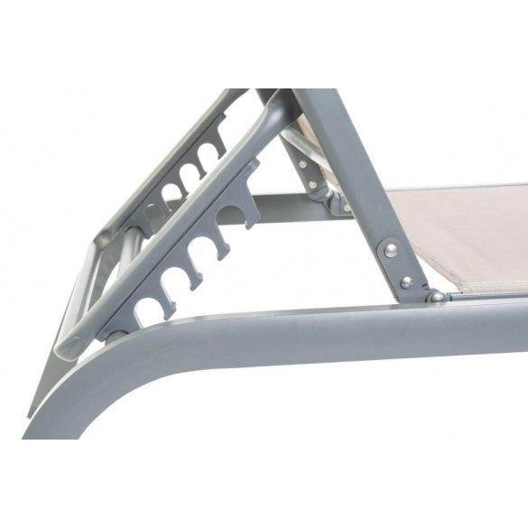 Napozóágy, aluminium, textilene, 191x58x30, dönthető