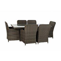 Asztal, ebédlő, szett, 7db-os, rattan, szintetikus, 200x100x75, 5, mm