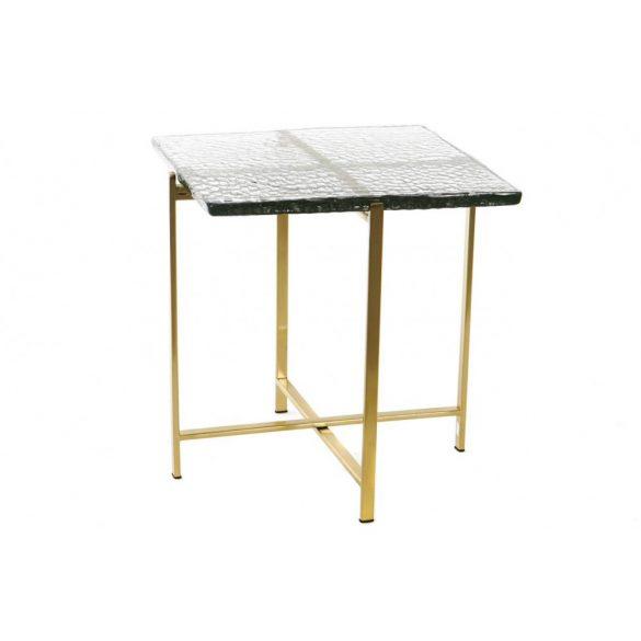 Asztalka telefonos fém üveg 40x40x42 aranyozott
