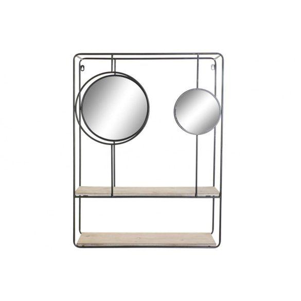 Polc, falra, fém, tükör, 60x17x80, fekete