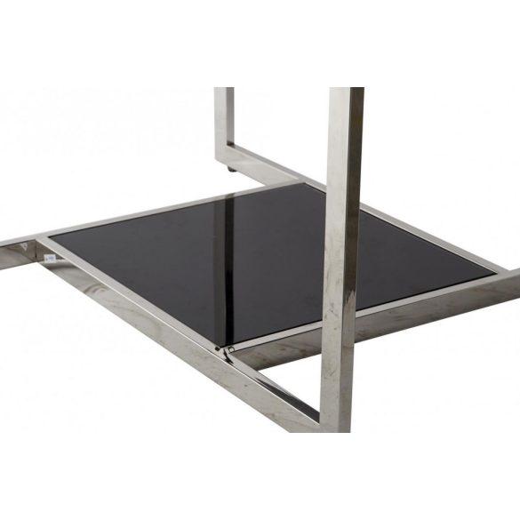 Asztal, kávé-s, fém, üveg, 100x100x45, fekete