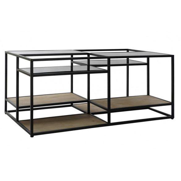 Asztal, kávé-s, fém, fa, 120x60x50, fekete