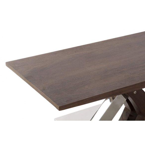 Asztal, kávé-s, fa, fém, 120x60x45