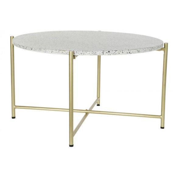 Asztal kávézó vas kő 80x80x43 terrazo fehér