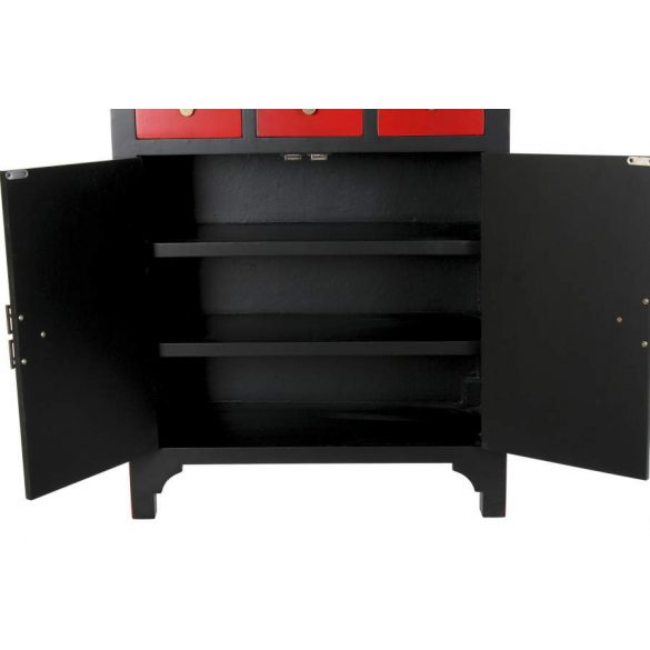 Fiókos szekrény fenyő mdf 63x27x101 piros