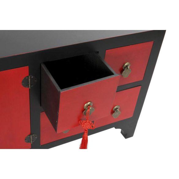 Szekrény tv-s fenyő mdf 130x24x51 piros