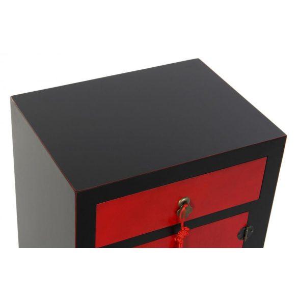 Éjjeli szekrény fenyő mdf 45x34x66 piros