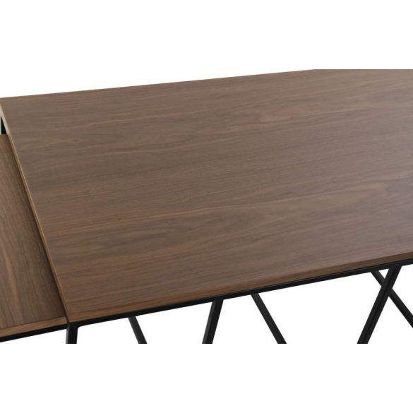 Asztal kávé-s szett 3db-os fa fém 120x60x50 természetes