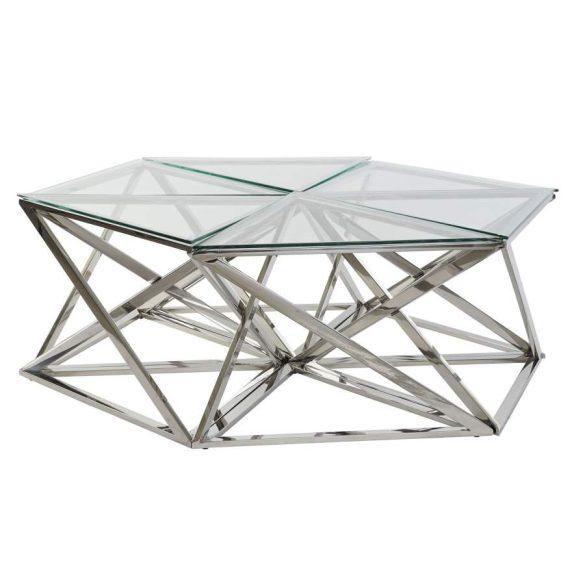 Asztal kávé-s szett 6db-os acél üveg 137,5x120,5x45,4