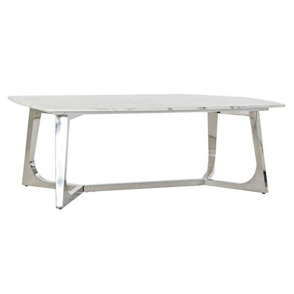 Asztal kávé-s acél márvány 127x70x43 ezüstözött