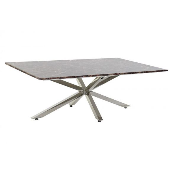 Asztal kávé-s acél márvány 130x45x80 ezüstözött