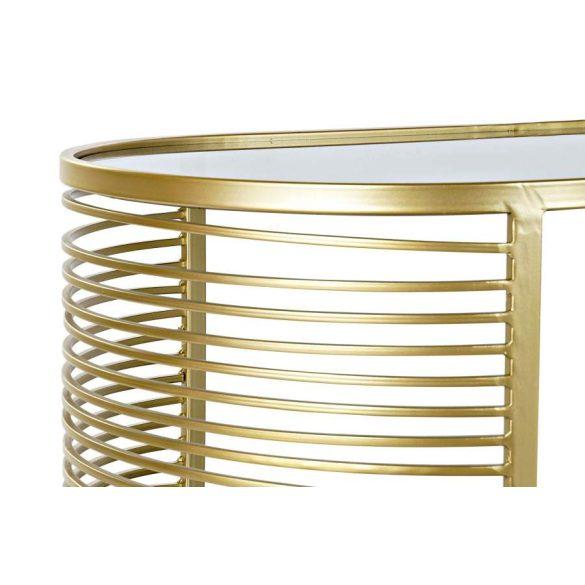 Asztal kávé-s fém üveg 101,5x46x46 aranyozott