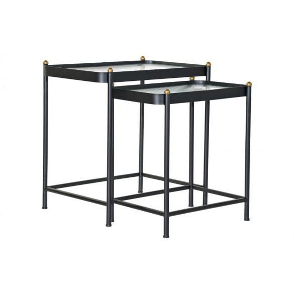 Asztal telefonos szett 2db-os fém üveg 60x40x62 fekete