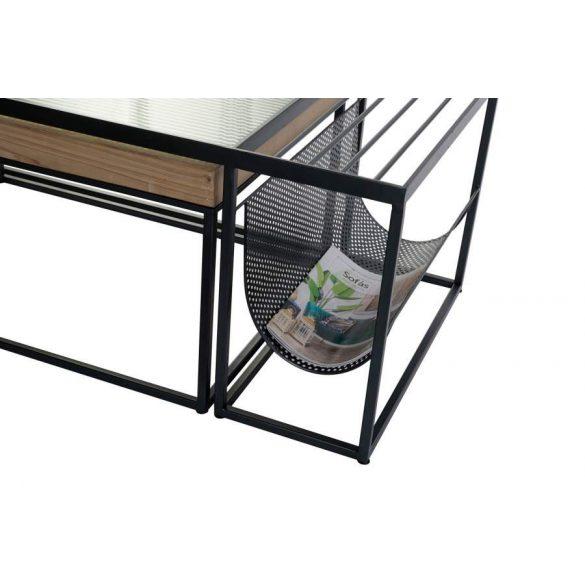 Asztal kávé-s szett 2db-os fém üveg 110x60x45