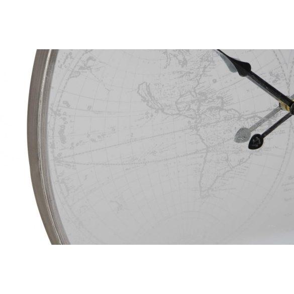 RE-171545 - Óra falra tükör fém 63x24x63 világtérkép